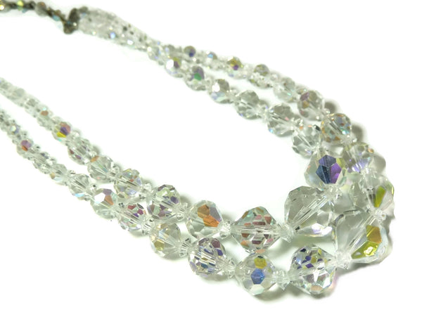 1950s Double Strand Crystal Bead Necklace Faceted Iridescent Beads - Premier Estate Gallery  - 1