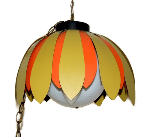 Vintage 70s Daisy Light Fixture Orange Green Olive Hanging Lamp Retro - Premier Estate Gallery  - 1