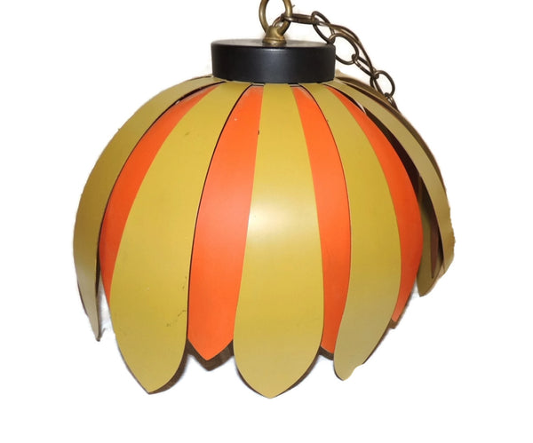 Vintage 70s Daisy Light Fixture Orange Green Olive Hanging Lamp Retro - Premier Estate Gallery  - 3