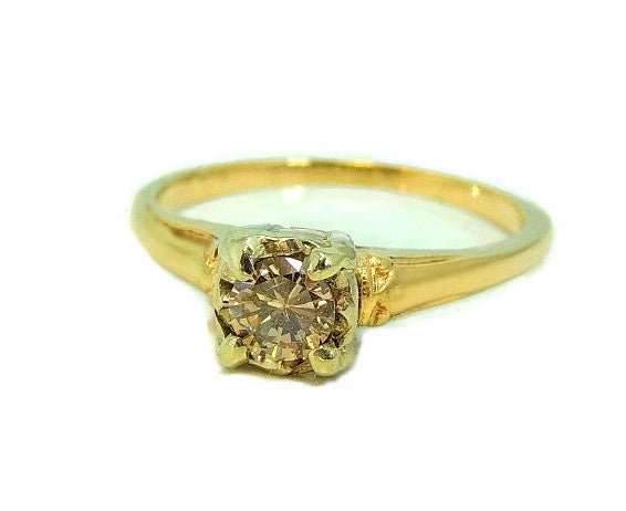 1930s 14k Champagne Diamond Engagement Ring Deco Style - Premier Estate Gallery  - 1