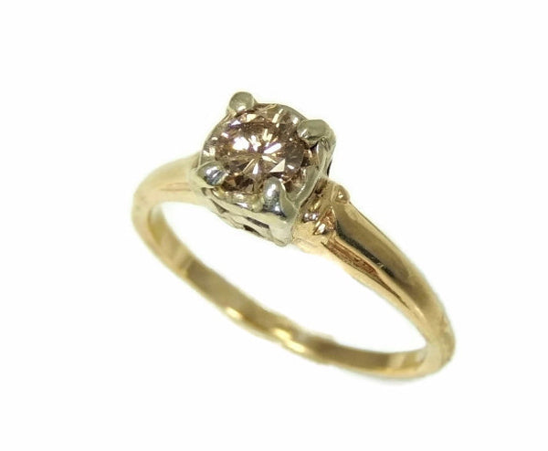 1930s 14k Champagne Diamond Engagement Ring Deco Style - Premier Estate Gallery  - 2