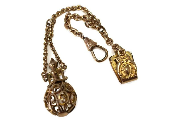 Gold Filled Victorian Watch Chain with Filigree Figural Fob Antique - Premier Estate Gallery 2