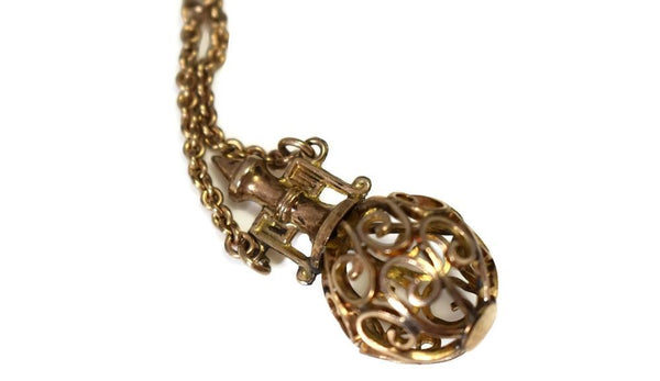 Gold Filled Victorian Watch Chain with Filigree Figural Fob Antique