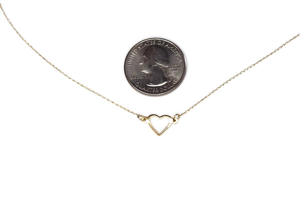 Minimalist 14k Gold Heart Necklace c1980s