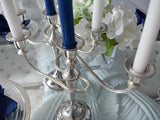 Estate Pr 3 Light Candelabras Vintage Chrome Plated Light Patina c1950