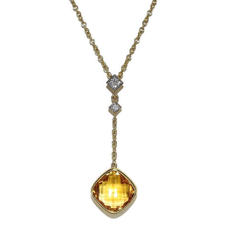 Estate 14k Gold Citrine Diamond Drop Necklace Gemstone Necklace  - Premier Estate Gallery