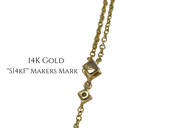 Estate 14k Gold Citrine Diamond Drop Necklace Gemstone Necklace