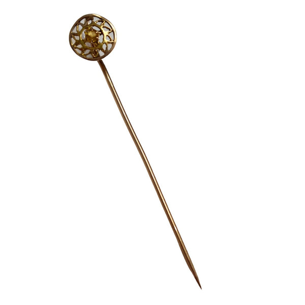 Antique 10k Sunburst Stickpin Lapel Pin w Golden Beryl Gemstone - Premier Estate Gallery 3