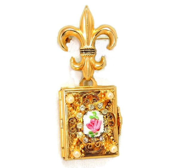 1950s Coro Brooch Locket Fleur De Lis 4 Photo Locket - Premier Estate Gallery  - 2