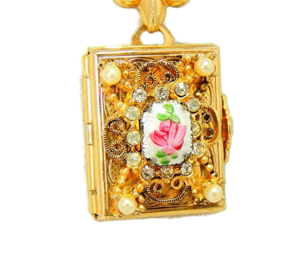 1950s Coro Brooch Locket Fleur De Lis 4 Photo Locket - Premier Estate Gallery  - 3