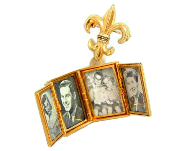 1950s Coro Brooch Locket Fleur De Lis 4 Photo Locket - Premier Estate Gallery  - 4
