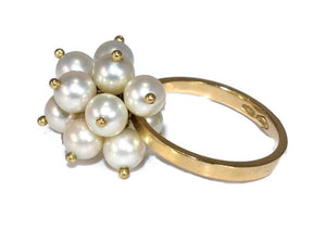 Estate 18k Gold Pearl Dangle Cluster Ring - Premier Estate Gallery