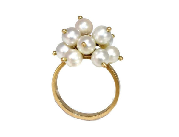 Estate 18k Gold Pearl Dangle Cluster Ring - Premier Estate Gallery 2