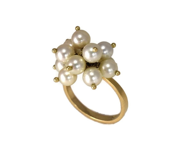 Estate 18k Gold Pearl Dangle Cluster Ring - Premier Estate Gallery 3