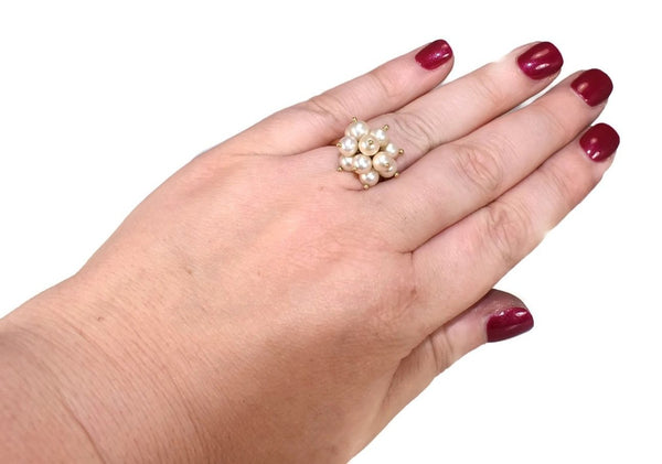 Estate 18k Gold Pearl Dangle Cluster Ring Dimensional Movement