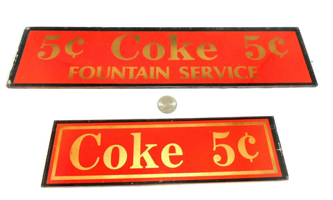1910s Soda Fountain Signs, Antique Reverse Painted Glass, Coke 5 Cents Fountain Service - Premier Estate Gallery  - 1