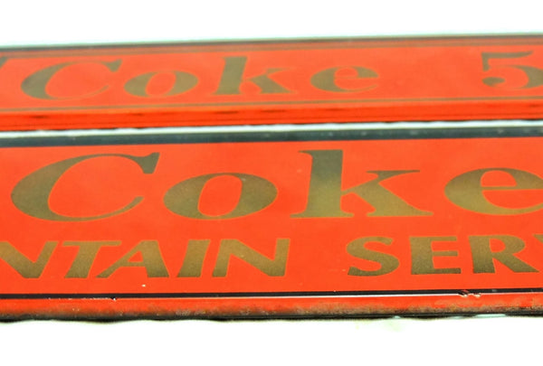 1910s Soda Fountain Signs, Antique Reverse Painted Glass, Coke 5 Cents Fountain Service - Premier Estate Gallery  - 3