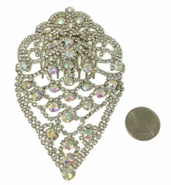 Glamorous Rhinestone Hair Comb, Bridal Rhinestone Hair Comb Jewelry Vintage - Premier Estate Gallery  - 2