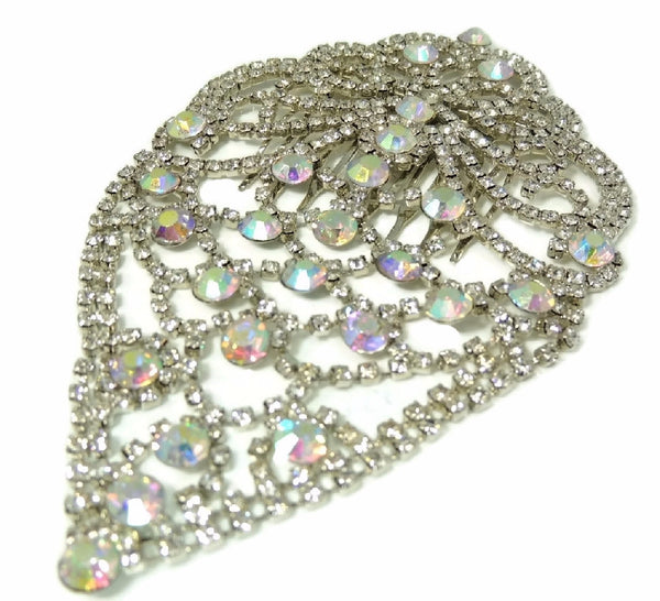 Glamorous Rhinestone Hair Comb, Bridal Rhinestone Hair Comb Jewelry Vintage - Premier Estate Gallery  - 3
