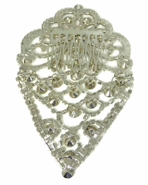Glamorous Rhinestone Hair Comb, Bridal Rhinestone Hair Comb Jewelry Vintage - Premier Estate Gallery  - 4