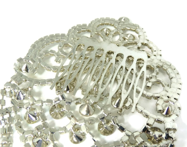 Glamorous Rhinestone Hair Comb, Bridal Rhinestone Hair Comb Jewelry Vintage - Premier Estate Gallery  - 5