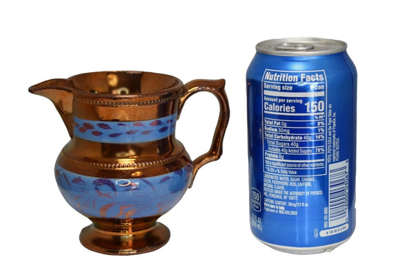 1840s English Copper Luster Creamer w Beaded Trim Blue Transfer