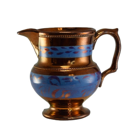 1840s English Copper Luster Creamer w Beaded Trim Blue Transfer - Premier Estate Gallery 1