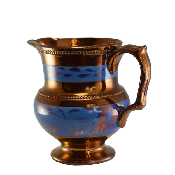 1840s English Copper Luster Creamer w Beaded Trim Blue Transfer - Premier Estate Gallery 2