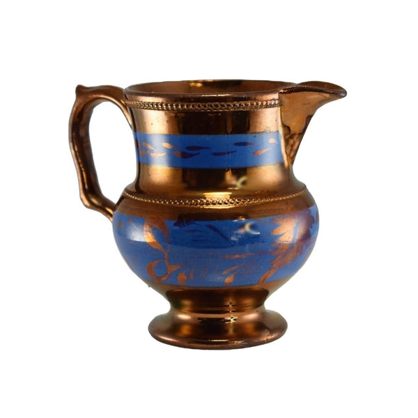 1840s English Copper Luster Creamer w Beaded Trim Blue Transfer - Premier Estate Gallery 3