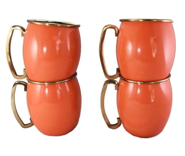 Coral Enamel Cocktail Set with Mugs c1970s