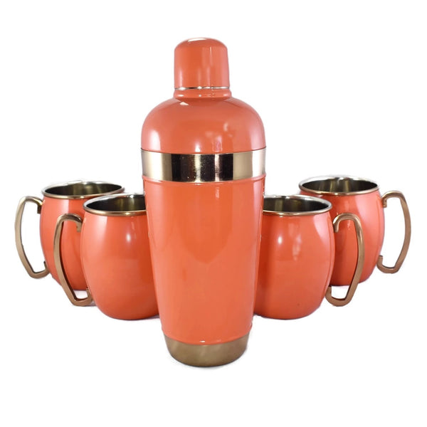 Coral Enamel Cocktail Set with Mugs c1970s - Premier Estate Gallery