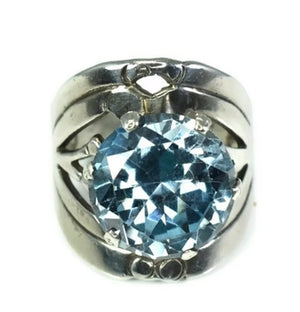 Vintage Taxco Silver Aquamarine Ring by Cheo - Premier Estate Gallery