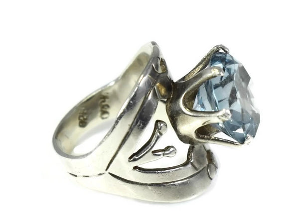 Vintage Taxco Silver Aquamarine Ring by Cheo - Premier Estate Gallery 3