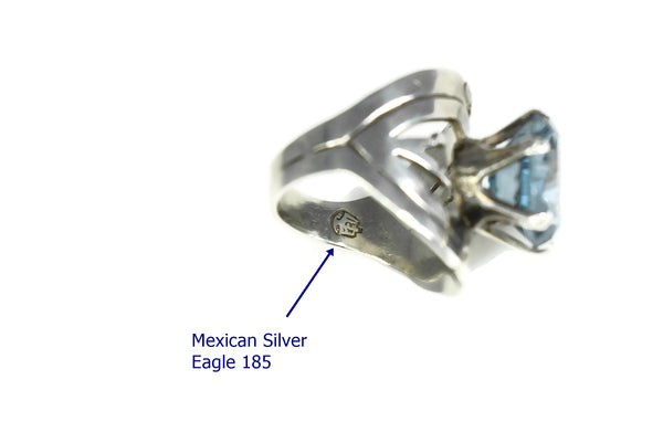 Vintage Taxco Silver Aquamarine Ring by Cheo 7.25 ctw