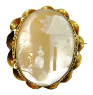 Estate Shell Carved Scenic Cameo Brooch 9k Gold c1900 Antique - Premier Estate Gallery  - 1