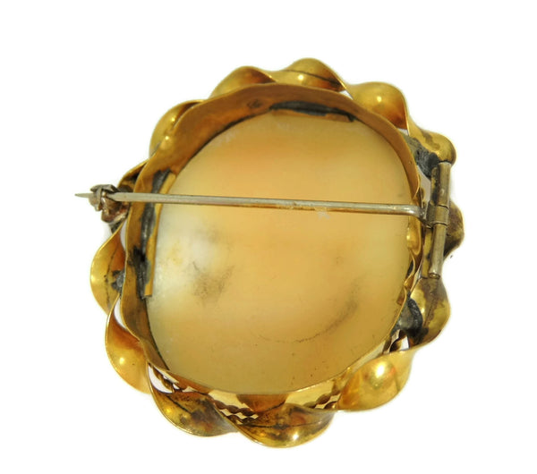 Estate Shell Carved Scenic Cameo Brooch 9k Gold c1900 Antique - Premier Estate Gallery  - 3