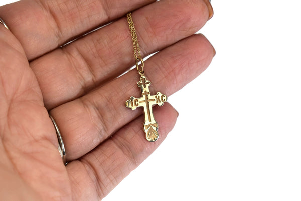 Vintage 14k Russian Orthodox Cross w Chain Double Sided - Premier Estate Gallery 3
