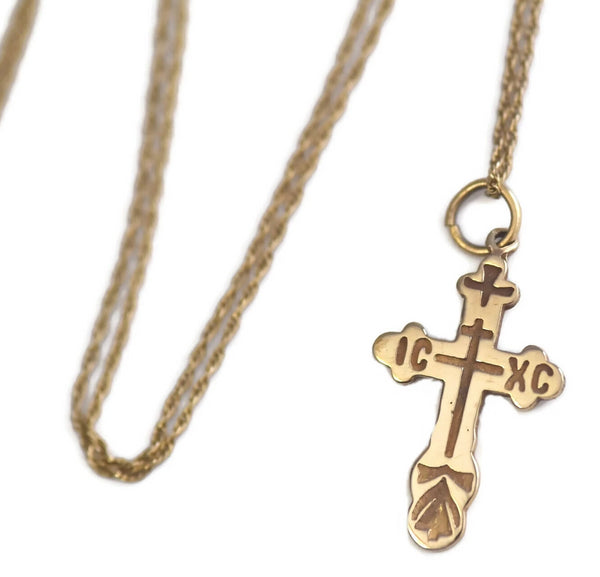 Vintage 14k Russian Orthodox Cross w Chain Double Sided - Premier Estate Gallery