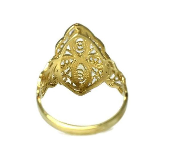 Vintage 14k Filigree Cross Ring, Religious Gold Cross Ring