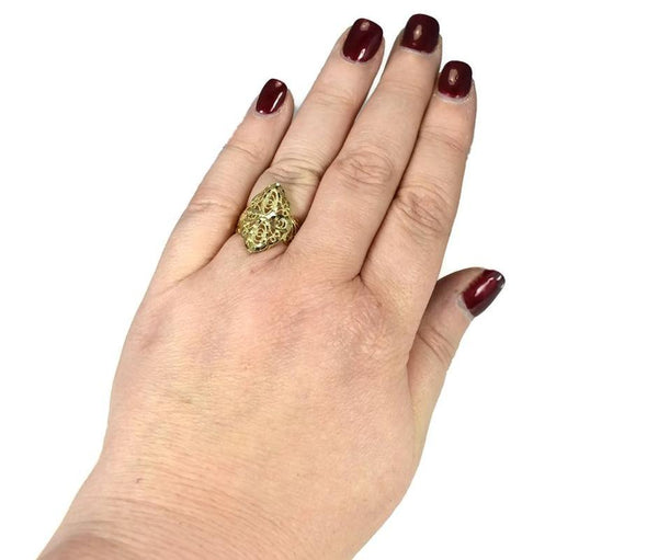 Vintage 14k Filigree Cross Ring, Religious Gold Cross Ring - Premier Estate Gallery 3