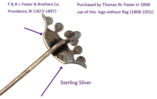 1915 Sterling Silver Crown Stickpin Lapel Pin Rhinestones Seed Pearls Unisex Signed