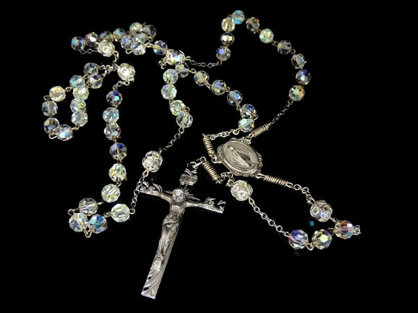 Vintage Crystal and Silver Rosary Beads Fiery Aurora Borealis - Premier Estate Gallery  - 1