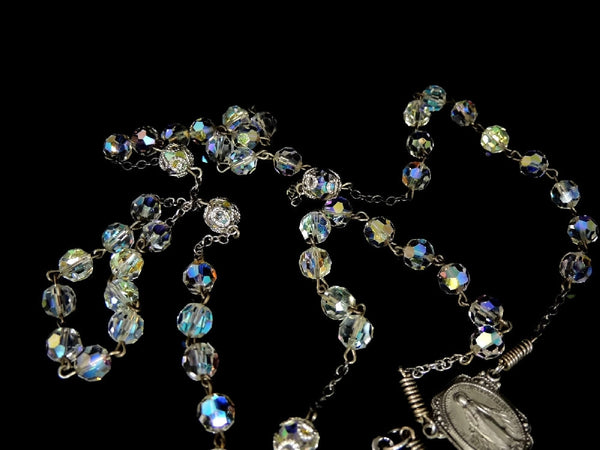 Vintage Crystal and Silver Rosary Beads Fiery Aurora Borealis - Premier Estate Gallery  - 2