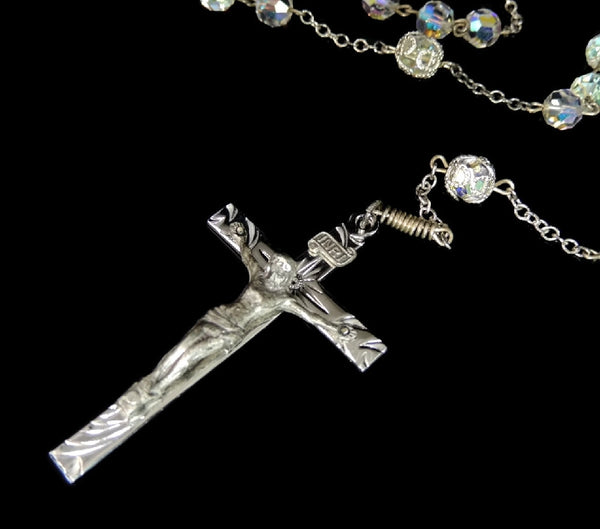 Vintage Crystal and Silver Rosary Beads Fiery Aurora Borealis - Premier Estate Gallery  - 3