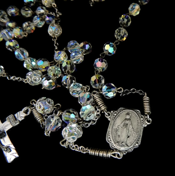 Vintage Crystal and Silver Rosary Beads Fiery Aurora Borealis - Premier Estate Gallery  - 4