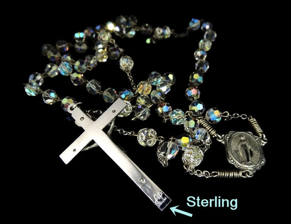 Vintage Crystal and Silver Rosary Beads Fiery Aurora Borealis - Premier Estate Gallery  - 5