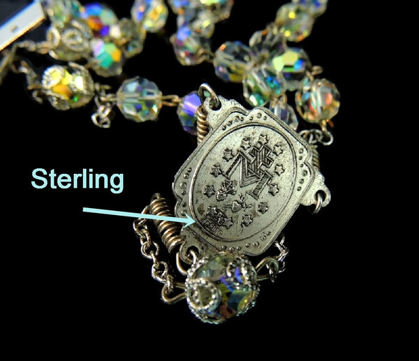Vintage Crystal and Silver Rosary Beads Fiery Aurora Borealis - Premier Estate Gallery  - 6