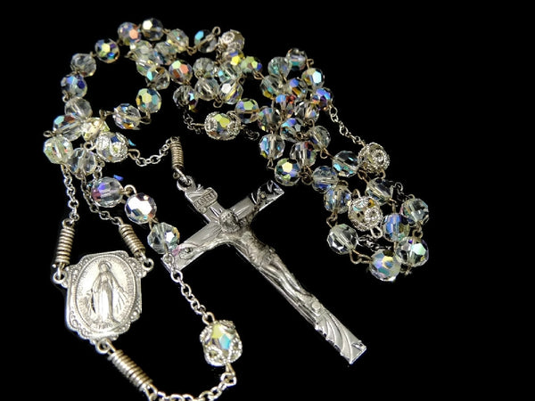 Vintage Crystal and Silver Rosary Beads Fiery Aurora Borealis - Premier Estate Gallery  - 8