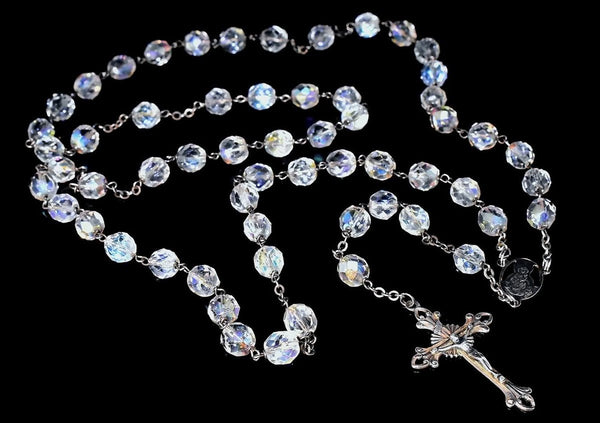 Deco Crystal Sterling Silver Rosary Beads Iridescent c1920s - Premier Estate Gallery