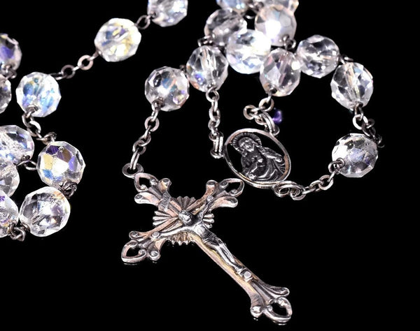 Deco Crystal Sterling Silver Rosary Beads Iridescent c1920s - Premier Estate Gallery 3